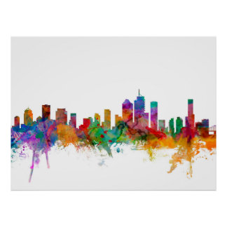 Brisbane Australia Skyline Poster