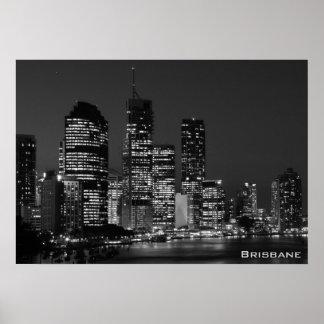 Brisbane City, Night - Black and White Poster Print