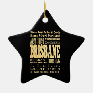 Brisbane City of Australia Typography Art Christmas Ornament