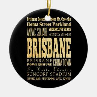 Brisbane City of Australia Typography Art Round Ceramic Decoration