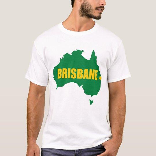 Brisbane Green and Gold Map T-Shirt