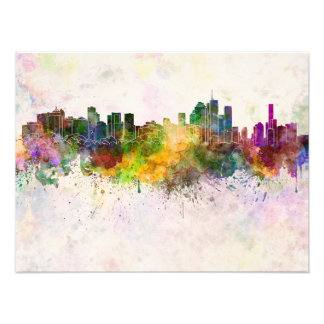 Brisbane skyline in watercolor background photo print