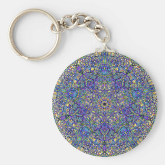 Bristol Blue Glass Pattern Key Ring