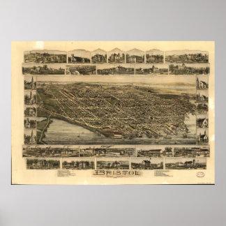 Bristol Rhode Island 1891 Antique Panoramic Map Poster