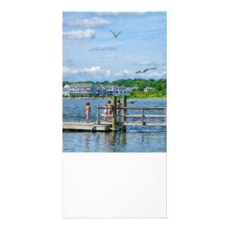 Bristol RI - Little Girls Watching Seagulls Personalised Photo Card