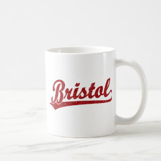 Bristol script logo in red coffee mug
