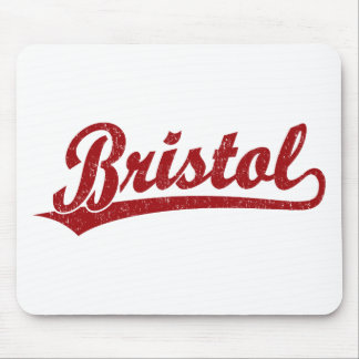 Bristol script logo in red mouse pad