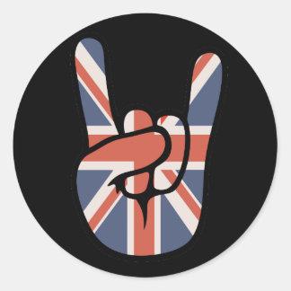 Brit Rock Hand Round Stickers