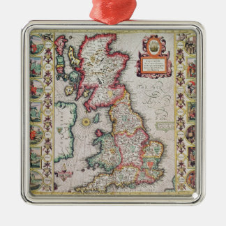 Britain As It Was Devided In The Tyme Silver-Colored Square Decoration
