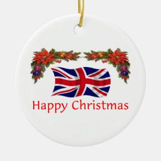 Britain Christmas Round Ceramic Decoration