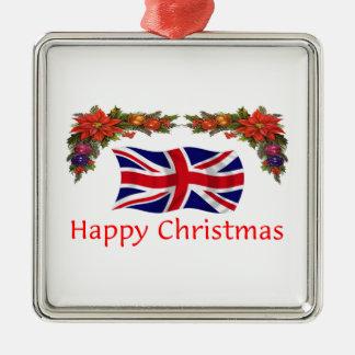 Britain Christmas Silver-Colored Square Decoration