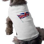 Britain flag on a pole dog t shirt