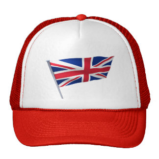 Britain flag on a pole hats