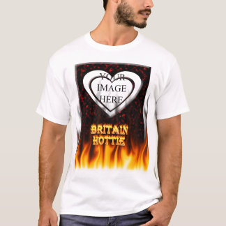 Britain Hottie fire and flames Red marble. T-Shirt