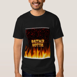 Britain Hottie fire and flames Red marble. Tees