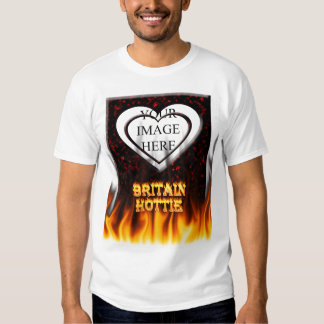 Britain Hottie fire and flames Red marble. Tshirt