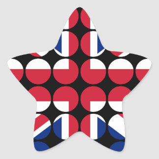 Britain Stylish Girly Chic Polka Dot British Flag Star Sticker