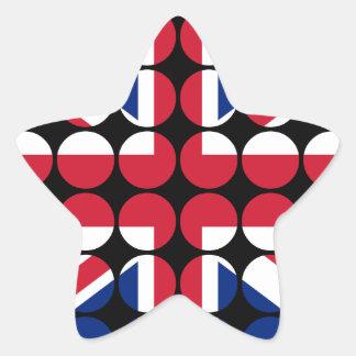 Britain Stylish Girly Chic Polka Dot British Flag Star Sticker