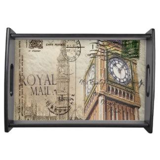 Britian England london clocktower big ben Serving Tray