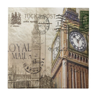 Britian England london clocktower big ben Small Square Tile