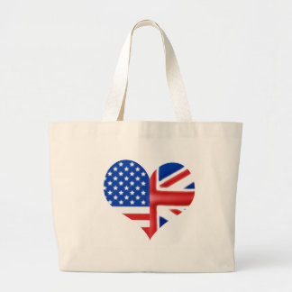 British American Heart Large Tote Bag