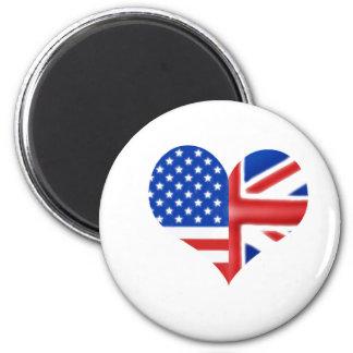 British American Heart 6 Cm Round Magnet