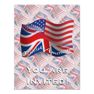 British-American Waving Flag 11 Cm X 14 Cm Invitation Card
