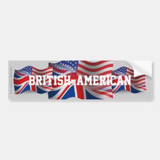 British-American Waving Flag Car Bumper Sticker