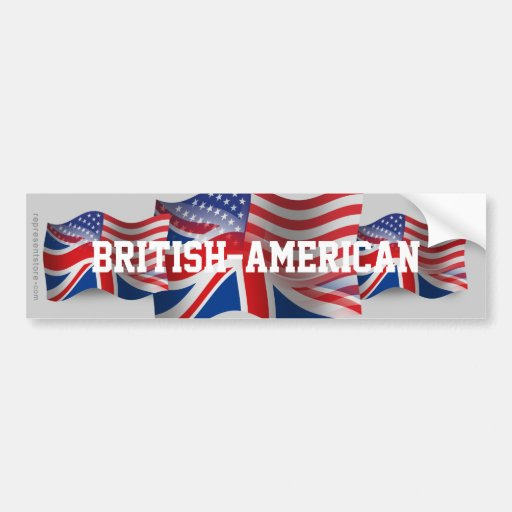 British-American Waving Flag Bumper Sticker
