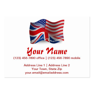 British-American Waving Flag Business Card Templates