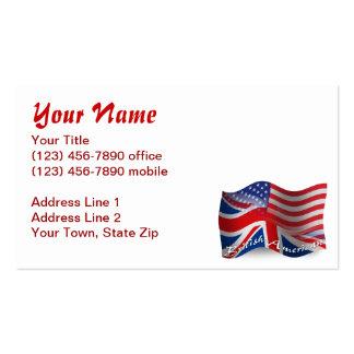 British-American Waving Flag Business Card Template