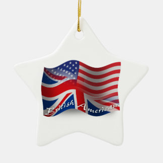 British-American Waving Flag Christmas Ornament