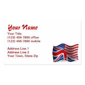 British-American Waving Flag Pack Of Standard Business Cards