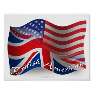 British-American Waving Flag Poster