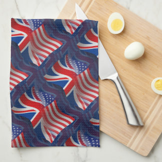 British-American Waving Flag Tea Towel