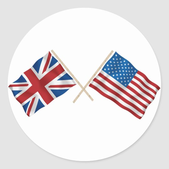 British and American Flag Classic Round Sticker