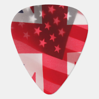 British and American flags Plectrum