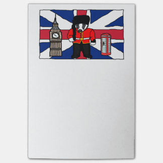 British Badger Big Ben Phone Booth Cartoon Post-it Notes