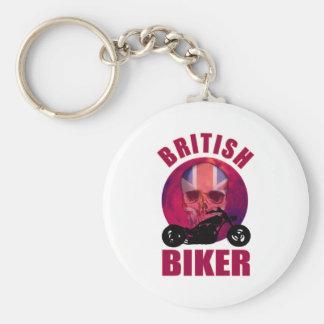British Biker Skull Chop Basic Round Button Key Ring