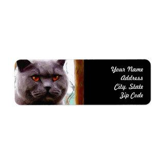 British Blue Cat Address Labels