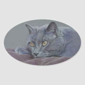 british blue shorthair cat painting oval sticker