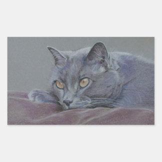 british blue shorthair cat painting rectangular sticker