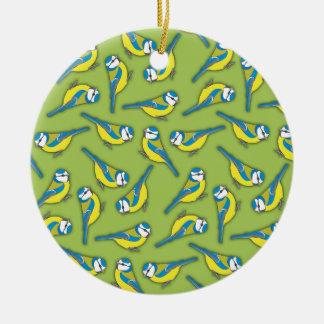 British Bluetit Bird on Green Pattern Round Ceramic Decoration