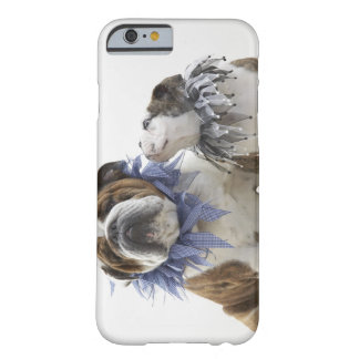 British bulldog and puppy wearing jester collar, barely there iPhone 6 case