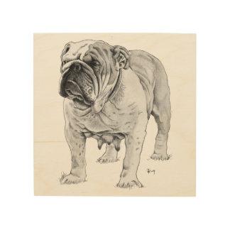 British Bulldog Drawing Wood Wall Art