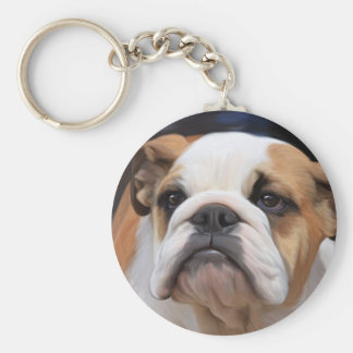 British Bulldog puppy Basic Round Button Key Ring