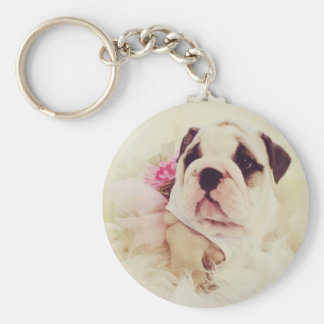 British Bulldog Puppy Keyring