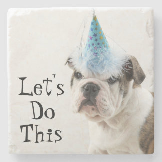 British Bulldog Puppy Wearing A Party Hat Stone Coaster