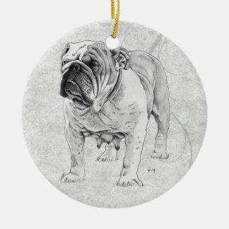 British Bulldog Round Ceramic Decoration