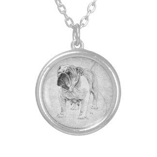 British Bulldog Round Pendant Necklace